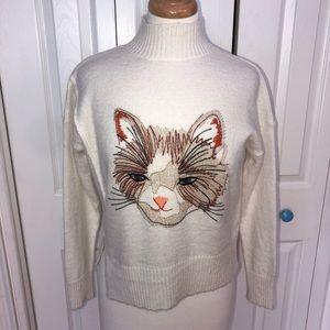 Moth Anthropologie kitty cat sweater